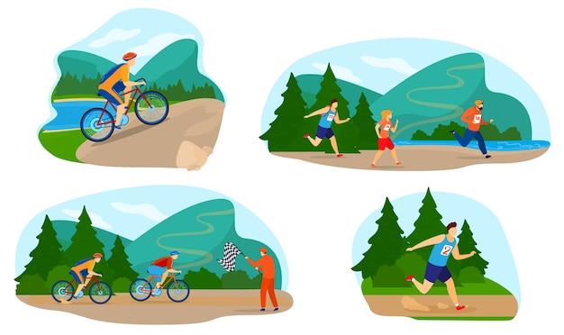 Run marathon race vektor-illustrationssatz. karikatur flache aktive athletenleute, die marathonherausforderung oder sportwettbewerb laufen, läufersportler