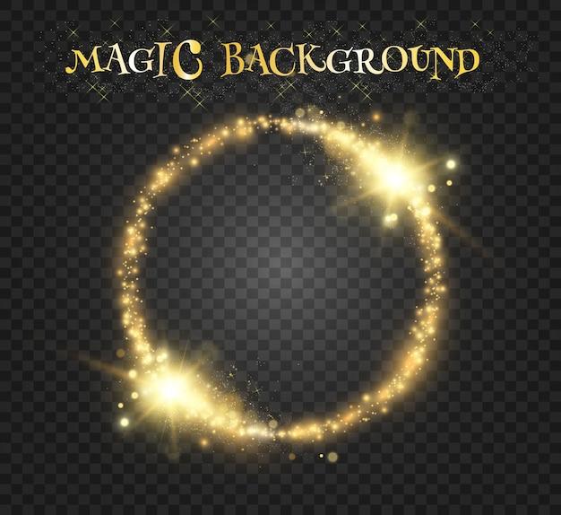 Rund glänzend schönes licht. magischer kreis. runder goldglänzender rahmen mit lichtblitzen.