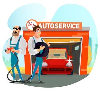Rund um die uhr auto service team werbung