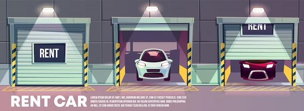 Rund um die uhr mietautoservice-karikaturfahne mit verschiedenen modernen automobilen, die stehen