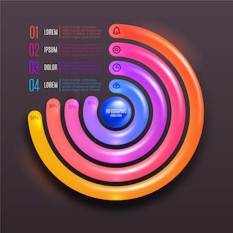 Runde 3d glänzende infografik