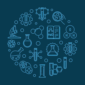 Runde blaue entwurfsillustration der wissenschaft und der chemie