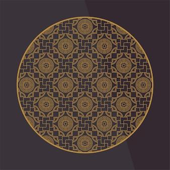 Runde chinesische dekorationselemente. rahmen, rahmen, fliesen. traditionelles dekor für grußkarten.