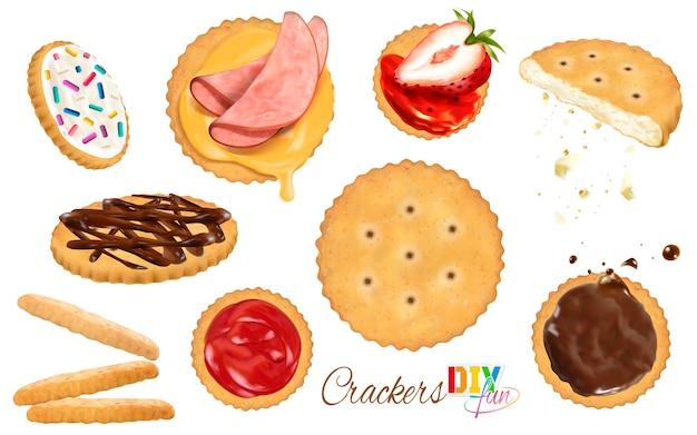 Runde cracker mit belagillustration