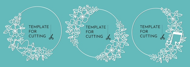Runde dekorative rahmen mit blumen. vorlagen zum schneiden von papier, plotter oder laserschneiden.
