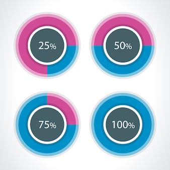 Runde diagramme und prozentvektorgestaltungselemente für infografikengeschäftsdarstellung