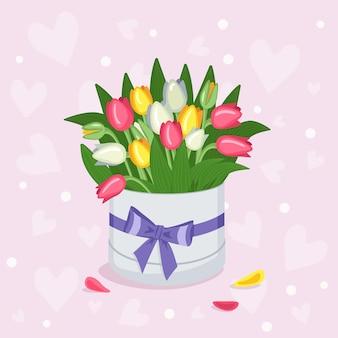 Runde dose mit tulpen