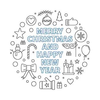 Runde entwurfsillustration der frohen weihnachten und des guten rutsch ins neue jahr