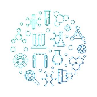Runde entwurfsillustration des blauen konzeptes der biochemie