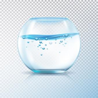 Runde fischfischschüsselnaquarium mit wasser und luftblasen auf realistischer vektorillustration des transparenten hintergrundes