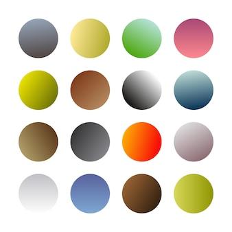 Runde gradientenkugeln. satz von sechzehn trendigen mehrfarbigen farbverläufen. vektor-illustration