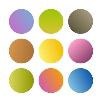 Runde gradientenkugeln. set von neun trendigen mehrfarbigen farbverläufen. vektor-illustration