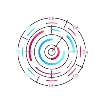 Runde grafik der analyse lokalisiert auf weiß