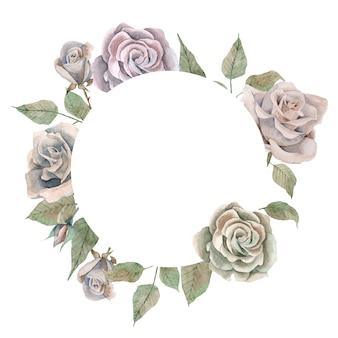 Runde grenze des aquarells mit rosa weinleserosen und -blättern