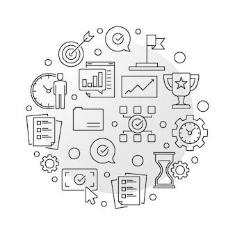Runde ikonenillustration der unternehmensziele in der dünnen linie art
