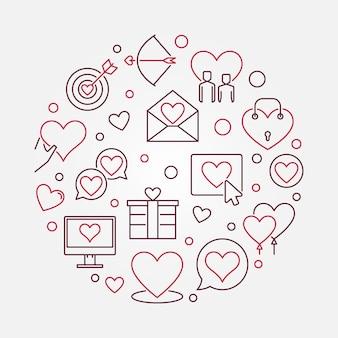 Runde illustration der liebe und der zwischenmenschlichen beziehung