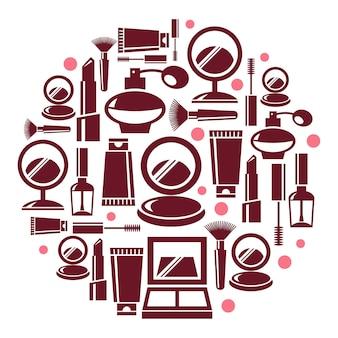 Runde illustration mit kosmetischen symbolen