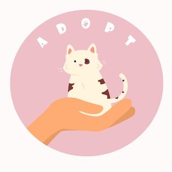 Runde illustration zur motivation, ein haustier zu adoptieren, anstatt es zu kaufen. flache zeichnung der menschlichen hand mit einer süßen katze und einem schreiben.