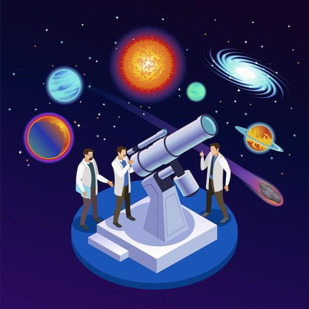 Runde isometrische zusammensetzung der astrophysik mit den astronomen, planetenmeteoritgalaxien mit sternenklarer hintergrundillustration des optischen teleskops beobachtend