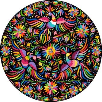 Runde komposition der mexikanischen stickerei. vögel und blumen