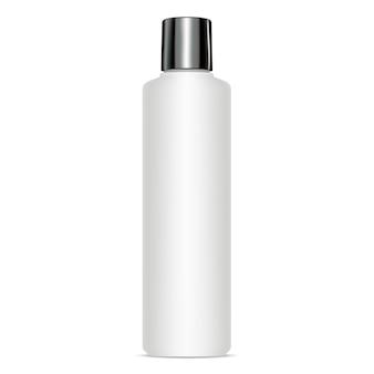 Runde kosmetische flasche mit schwarzer glänzender kappe. attrappe, lehrmodell, simulation