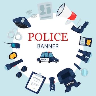 Runde kreisfahne der polizeiberufswerkzeuge und der sicherheitsausrüstung.