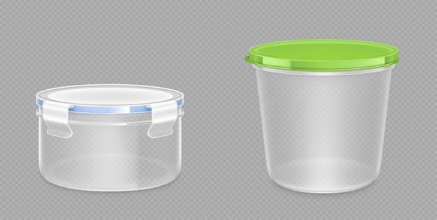 Runde lebensmittelbehälter aus kunststoff mit beschneidungspfad