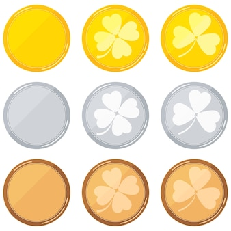 Runde leere vorlagen mit klee - gold, silber, bronze auf weißem hintergrund. vektor-flaches design-cartoon-stil-illustration.