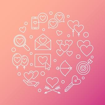 Runde linie illustration des liebes- und gefühlsvektors