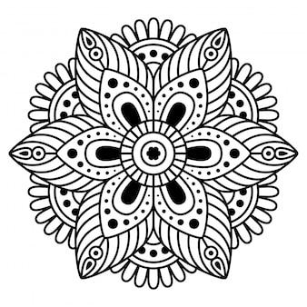 Runde mandala auf weißem hintergrund