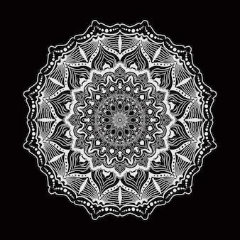 Runde mandala auf weißem und schwarzem hintergrund