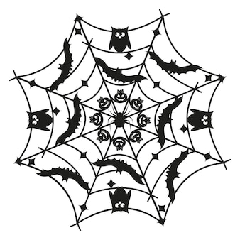 Runde mandala-halloween-schwarzschablone, lokalisierte illustration auf weiß