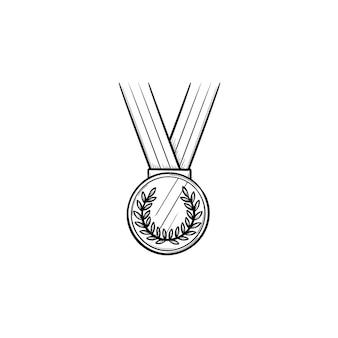 Runde medaille mit band hand gezeichneten umriss-doodle-symbol. erster platz, wettbewerbspreisträgerkonzept