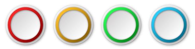 Runde papieraufkleber oder knöpfe. abstrakte papierbanner