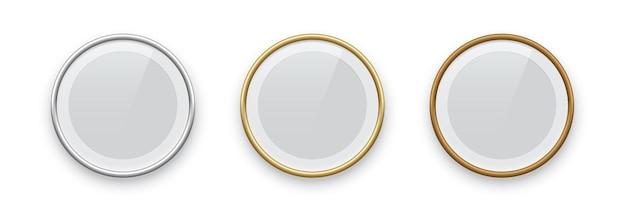Runde podestrahmen goldene silber- und bronzeränder isoliert auf weißem hintergrund