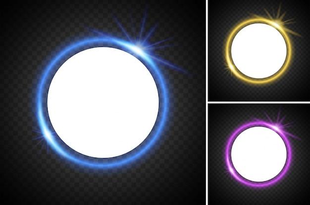 Runde rahmen mit unterschiedlicher lichtfarbe