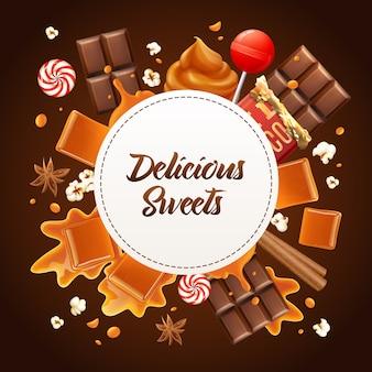 Runde realistische karamellrahmenkomposition mit köstlichen süßigkeiten-überschriften-karamell- und schokoladenillustration