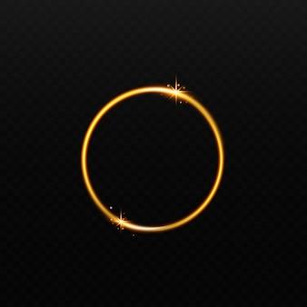 Runde realistische vektorillustration des glänzenden goldenen lichtrahmens lokalisiert auf dunklem hintergrund. glühendes dekoratives element des gekrümmten kreises oder glänzender 3d effekt.