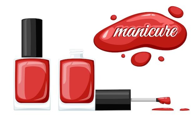 Runde rot glänzende nagellackflasche mit schwarzem verschluss. illustration auf weißem hintergrund. maniküre-konzept. geöffnete flasche und tropfen nagellack.