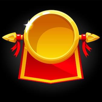Runde runde leere schablone des goldes und rote fahne.