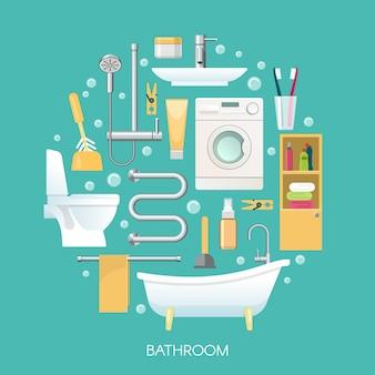 Runde runde zusammensetzung des badezimmers