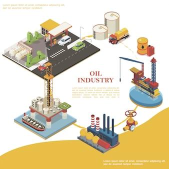Runde schablone der isometrischen erdölindustrie mit tankstellenölwasserplattformen lkw-fasskanisterzisternen raffinerieanlage tankerleitung und ventil