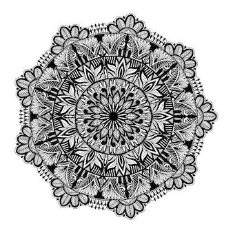 Runde schwarze mandala auf weißem getrenntem weißem hintergrund.