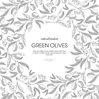 Runde skizzenkomposition aus olivenöl mit schönen sprossen und inschrift in der mitte