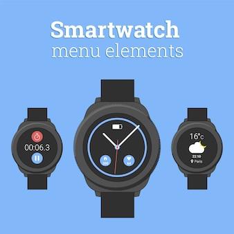 Runde smartwatch mit wettervorhersage, zifferblatt und stoppuhr im modernen flachen design