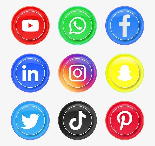 Runde social-media-symbole oder netzwerkplattform-logos in modernen schaltflächen