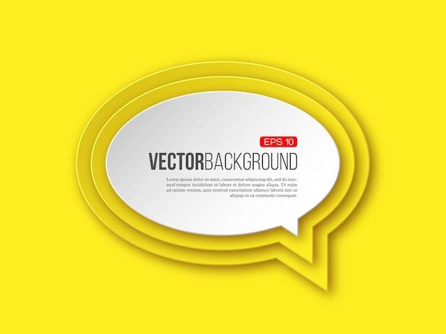 Runde sprechblase aus 3d-papier auf gelb mit layered-effekt mit schatten