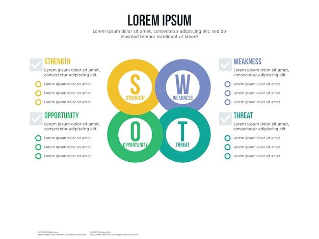 Runde swot infographik element und präsentationsvorlage
