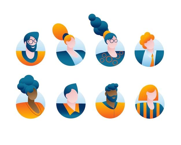 Runde symbole mit porträts verschiedener charaktere