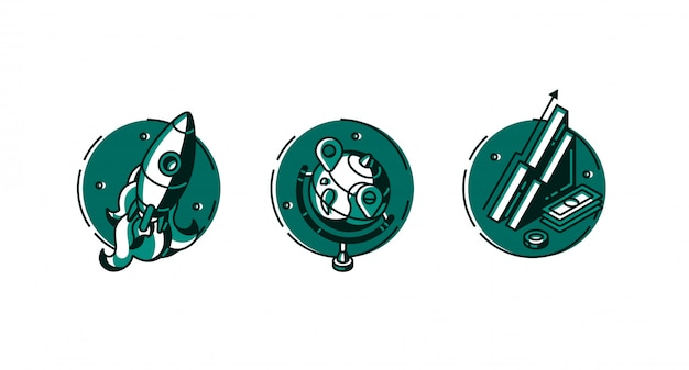 Runde symbole rakete, globus und datendiagrammsatz.